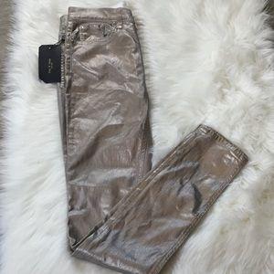 Rag N Bone Metallic Silver High Rise Skinny Jeans
